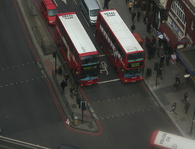 street traffic and buses in london
