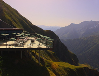 coffee bar and restaurant with alpine view